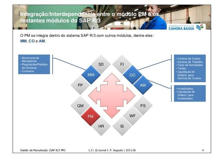 Integração/Interdependência entre o módulo PM e osrestantes módulos do SAP R/3O PM se integra dentro do sistema SAP R/3 co...