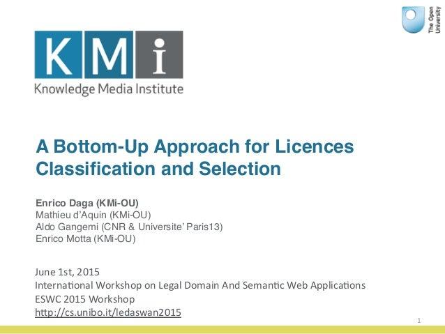 A Bottom-Up Approach for Licences Classification and Selection 1 Enrico Daga (KMi-OU) Mathieu d'Aquin (KMi-OU) Aldo Gangemi...