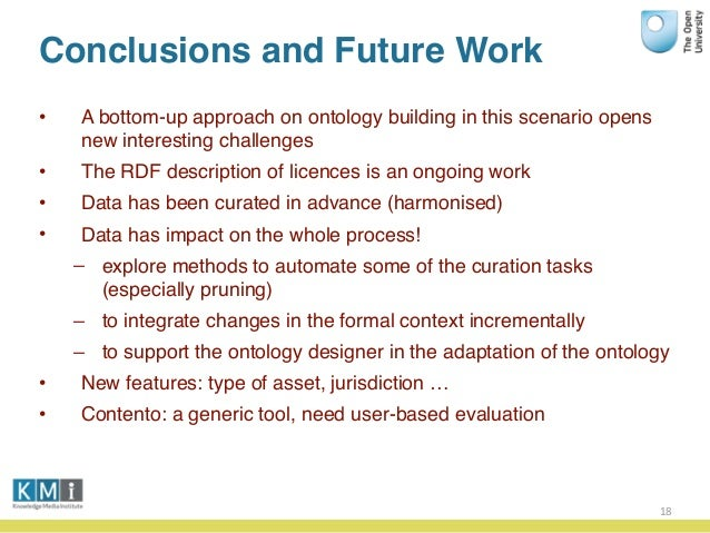 Conclusions and Future Work • A bottom-up approach on ontology building in this scenario opens new interesting challenges ...