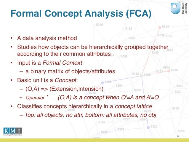 Formal Concept Analysis (FCA) • A data analysis method • Studies how objects can be hierarchically grouped together accord...