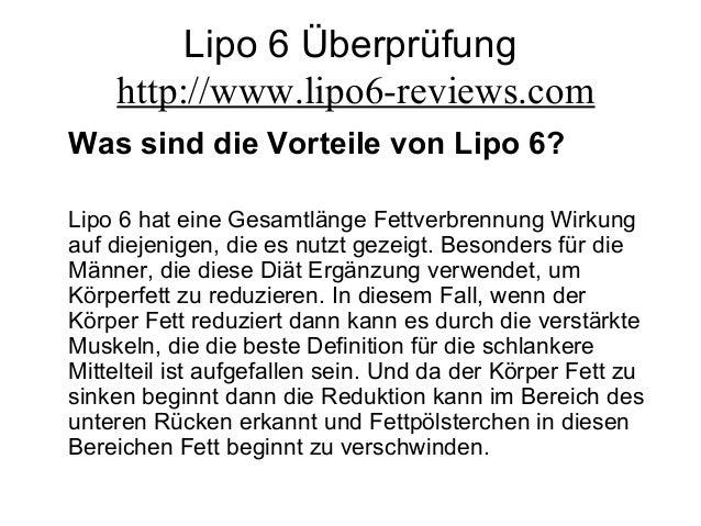 Lipo 6 Überprüfung http://www.lipo6-reviews.com Was sind die Vorteile von Lipo 6? Lipo 6 hat eine Gesamtlänge Fettverbrenn...