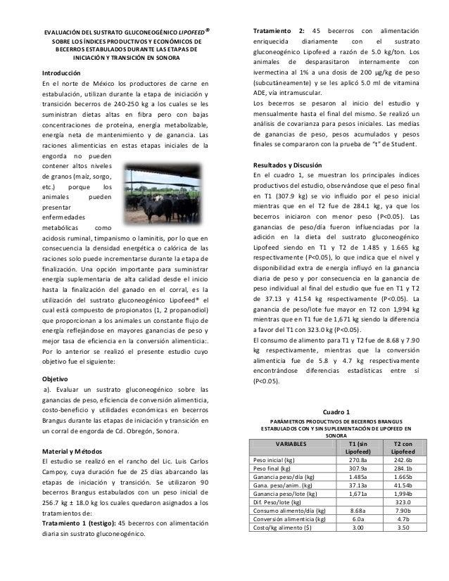 EVALUACIÓN DEL SUSTRATO GLUCONEOGÉNICO LIPOFEED® SOBRE LOS ÍNDICES PRODUCTIVOS Y ECONÓMICOS DE BECERROS ESTABULADOS DURANT...