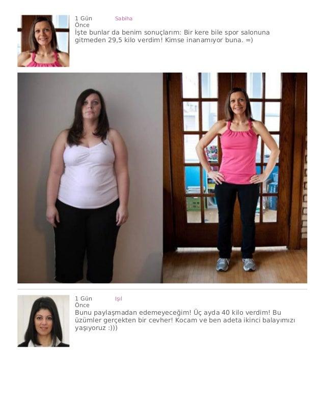1 Gün Önce Sabiha İşte bunlar da benim sonuçlarım: Bir kere bile spor salonuna gitmeden 29,5 kilo verdim! Kimse inanamıyor...