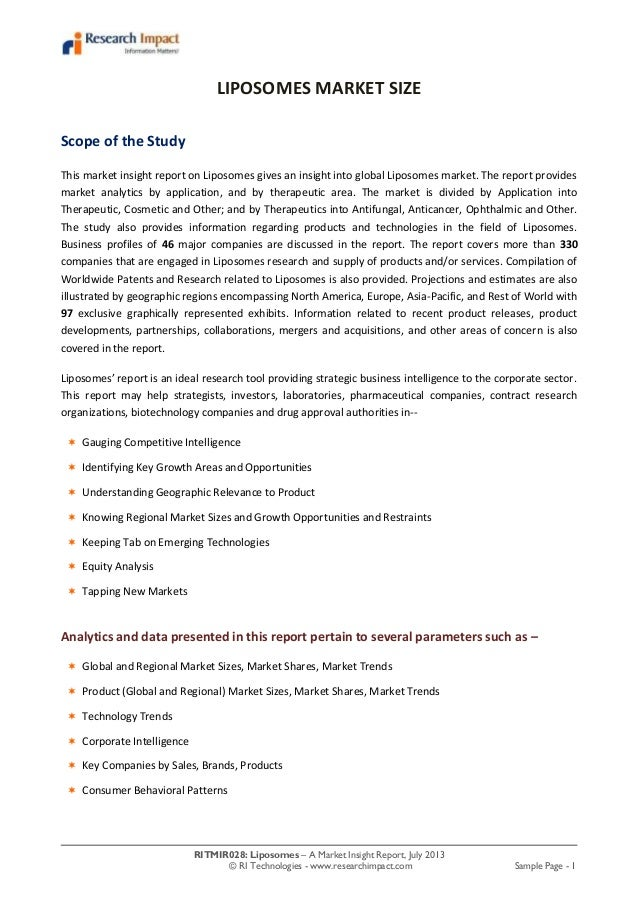 RITMIR028: Liposomes – A Market Insight Report, July 2013 © RI Technologies - www.researchimpact.com Sample Page - 1 LIPOS...