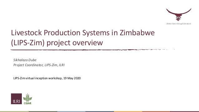 Livestock Production Systems in Zimbabwe (LIPS-Zim) project overview Sikhalazo Dube Project Coordinator, LIPS-Zim, ILRI LI...