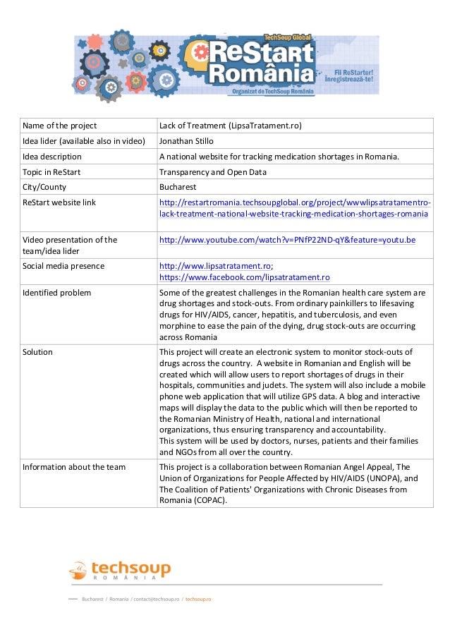 Name of the project                           Lack of Treatment (LipsaTratament.ro) I...
