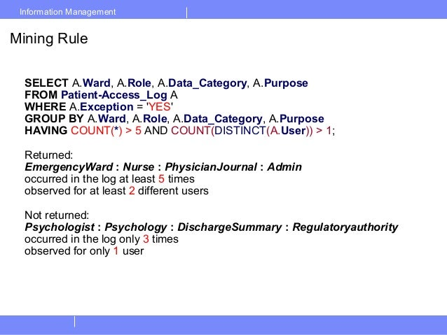 Information ManagementMining RuleSELECT A.Ward, A.Role, A.Data_Category, A.PurposeFROM Patient-Access_Log AWHERE A.Excepti...