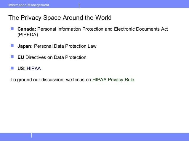Information ManagementThe Privacy Space Around the World Canada: Personal Information Protection and Electronic Documents...