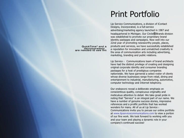 Print Portfolio Lip Service   Communications, a division of iContact Designs, Incorporated, is a full-service advertising/...