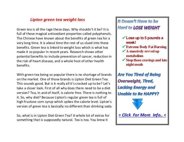 Lipton Green Tea Weight Loss