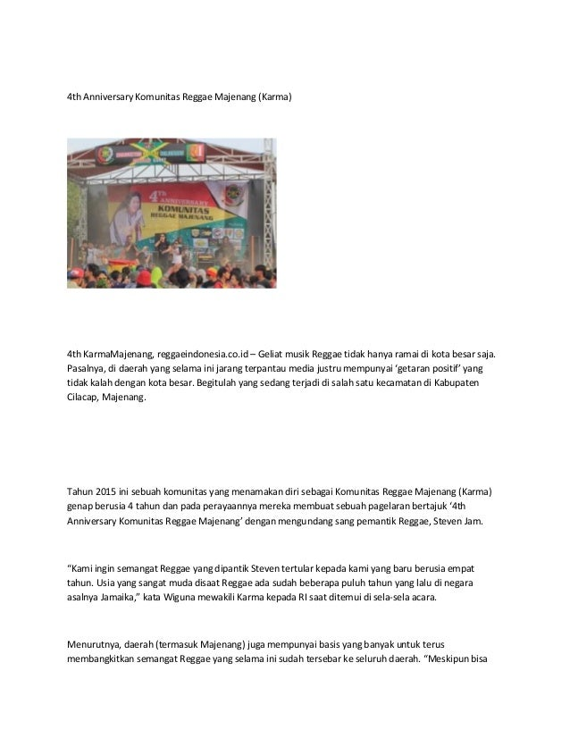 4th Anniversary Komunitas Reggae Majenang (Karma) 4th KarmaMajenang, reggaeindonesia.co.id – Geliat musik Reggae tidak han...