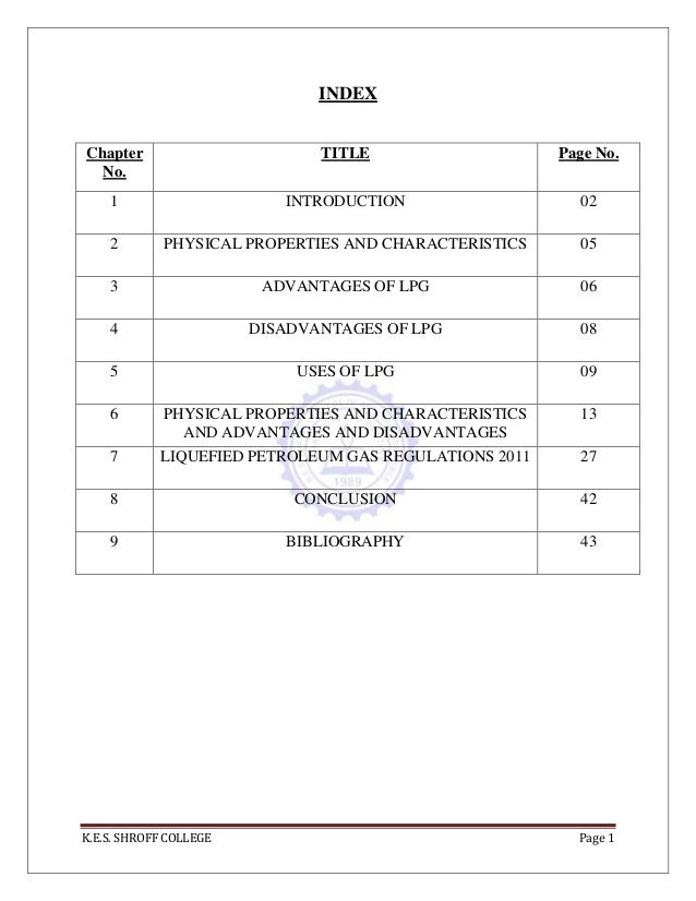 K.E.S. SHROFF COLLEGE Page 1 INDEX Chapter No. TITLE Page No. 1 INTRODUCTION 02 2 PHYSICAL PROPERTIES AND CHARACTERISTICS ...