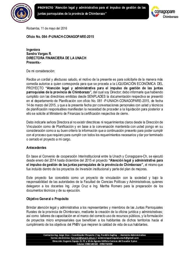 Contactos Ing. Jorge Cruz – Coordinador Proyecto / Ing. Franklin Sagñay – Asistente Administrativo Correo electrónico: fer...