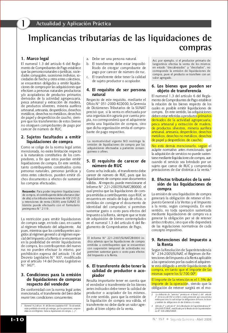 I                Actualidad y Aplicación Práctica           Implicancias tributarias de las liquidaciones de              ...