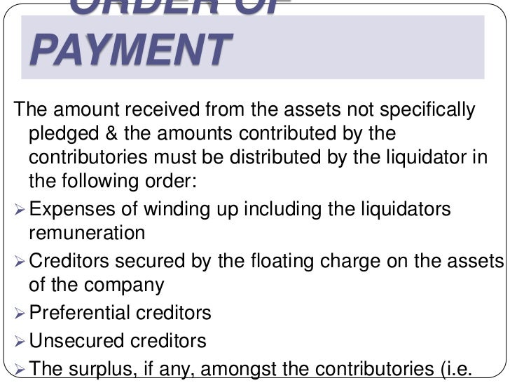 ORDER OF PAYMENTThe amount received from the assets not specifically  pledged & the amounts contributed by the  contributo...