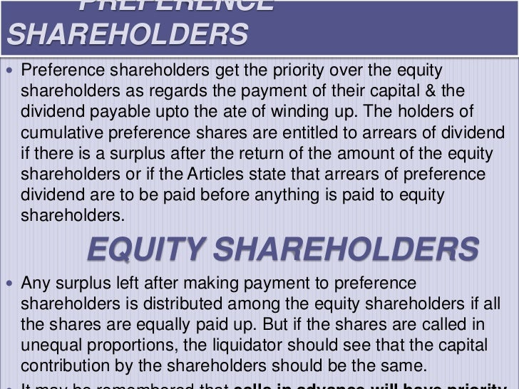 PREFERENCESHAREHOLDERS Preference shareholders get the priority over the equity  shareholders as regards the payment of t...