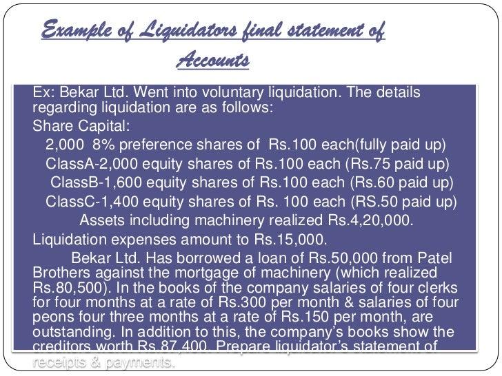 Example of Liquidators final statement of                  Accounts Ex: Bekar Ltd. Went into voluntary liquidation. The d...