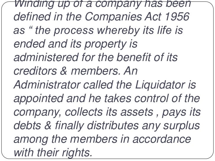 liquidation the procedure The liquidation of companies in egypt is governed by the egyptian companies law no 159/1981 1, the law governs all the aspects of the companies' liquidation including the reasons of liquidation, status of the company under liquidation, the appointment of the liquidator, responsibilities of the liquidator and revocation of the liquidator.