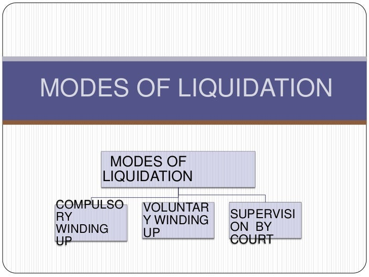 MODES OF LIQUIDATION       MODES OF      LIQUIDATION COMPULSO   VOLUNTAR RY                     SUPERVISI            Y WIN...