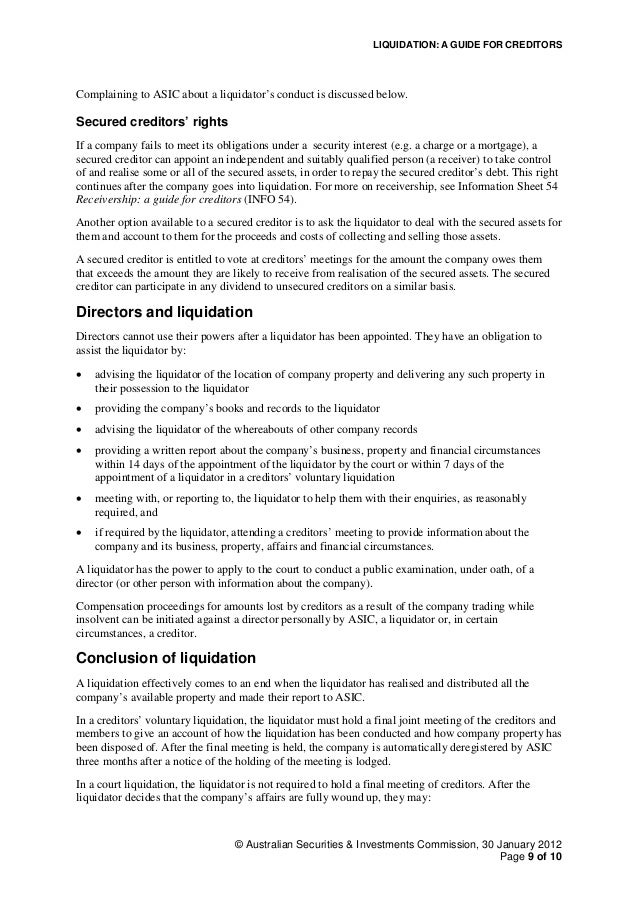Liquidation: A guide for employees | ASIC - Australian ...
