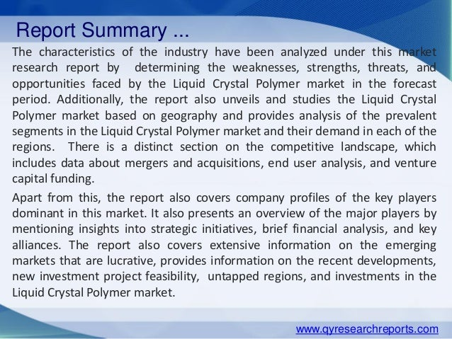 Liquid Crystal Polymer Market: Global Industry Analysis, Research, Share, Trends And Forecasts 2015-2020 Slide 3