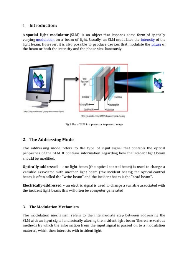 IDL737 Term Paper On Spatial Light Modulators Submitted By : Ajay Singh  2014JOP2558; 2. 1.