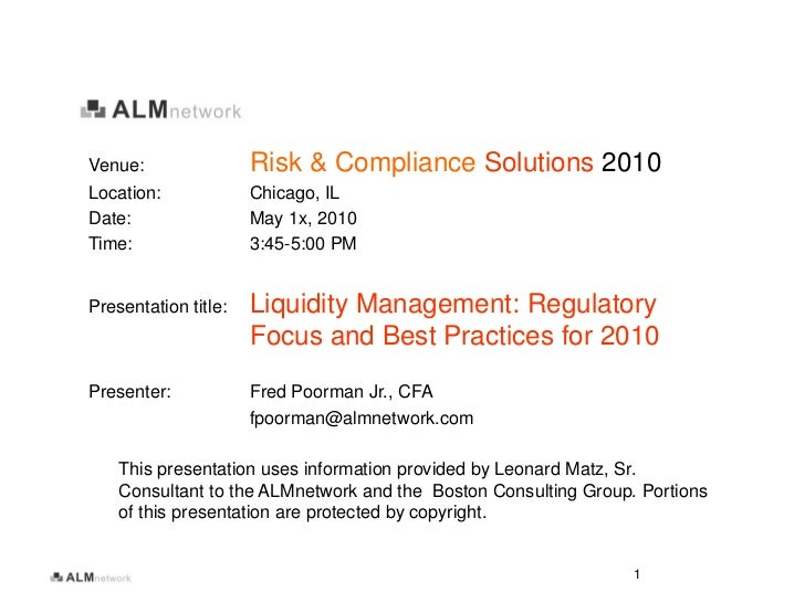 Venue:                Risk & Compliance Solutions 2010 Location:             Chicago, IL Date:                 May 1x, 201...