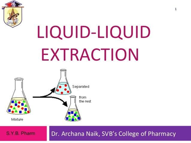 LIQUID-LIQUID EXTRACTION Dr. Archana Naik, SVB's College of Pharmacy 1 S.Y.B. Pharm