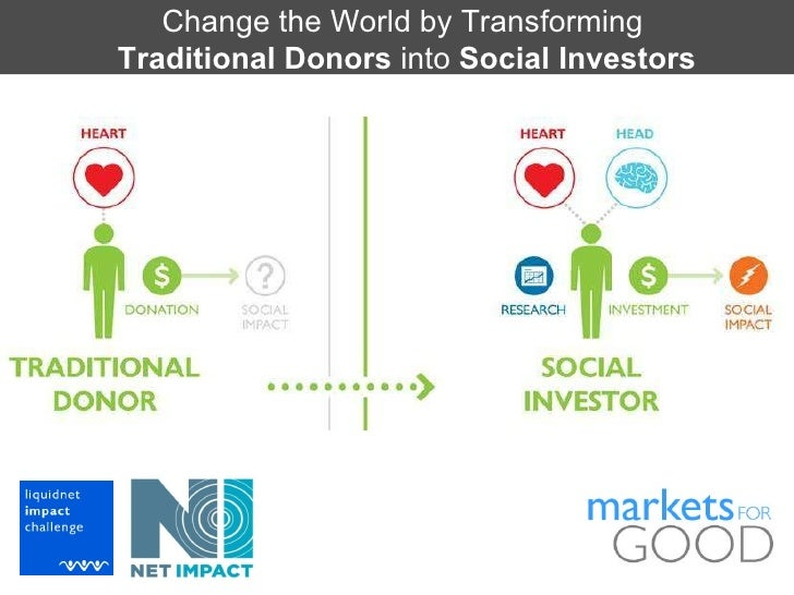 Change the World by Transforming  Traditional Donors  into  Social Investors