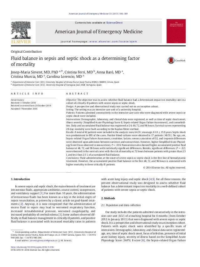 Original Contribution Fluid balance in sepsis and septic shock as a determining factor of mortality Josep-Maria Sirvent, M...