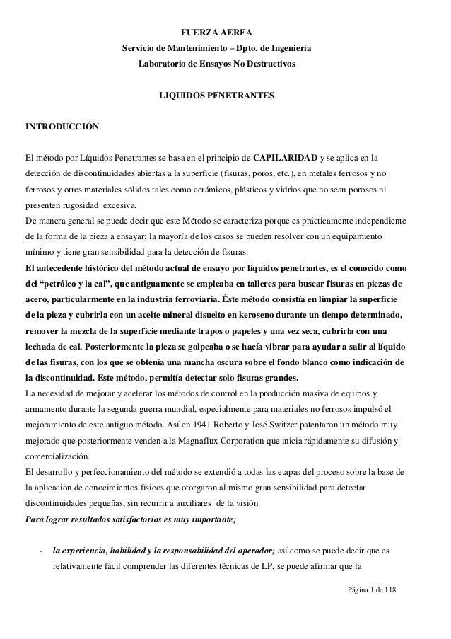 FUERZA AEREA Servicio de Mantenimiento – Dpto. de Ingeniería Laboratorio de Ensayos No Destructivos  LIQUIDOS PENETRANTES ...