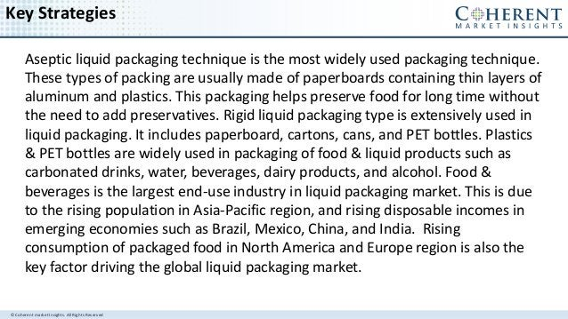 © Coherent market Insights. All Rights Reserved Key Strategies Aseptic liquid packaging technique is the most widely used ...