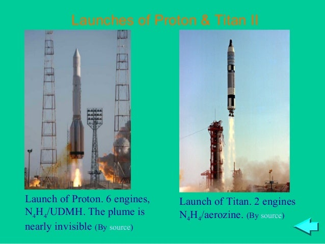 Launches of Proton & Titan IILaunch of Proton. 6 engines,   Launch of Titan. 2 enginesN4H4/UDMH. The plume is        N4H4/...