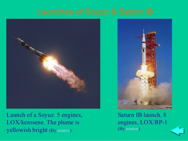 Launches of Soyuz & Saturn IBLaunch of a Soyuz. 5 engines,   Saturn IB launch. 8LOX/kerosene. The plume is      engines, L...