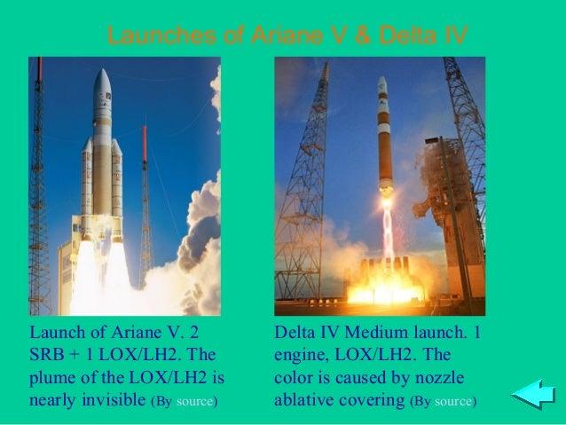 Launches of Ariane V & Delta IVLaunch of Ariane V. 2          Delta IV Medium launch. 1SRB + 1 LOX/LH2. The           engi...