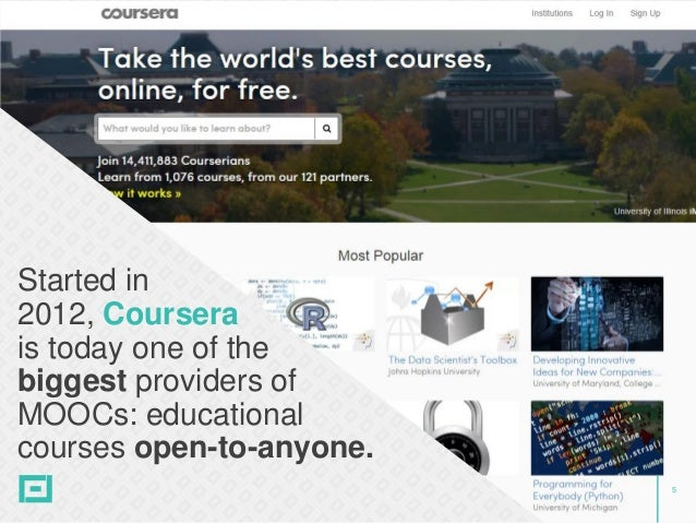 5 Started in 2012, Coursera