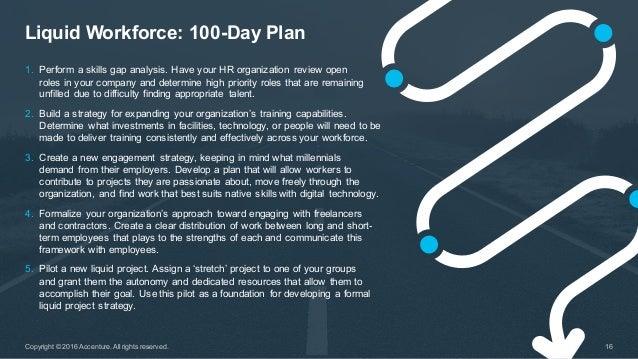 Liquid Workforce: 100-Day Plan 16Copyright © 2016 Accenture. All rights reserved. 1. Perform a skills gap an...