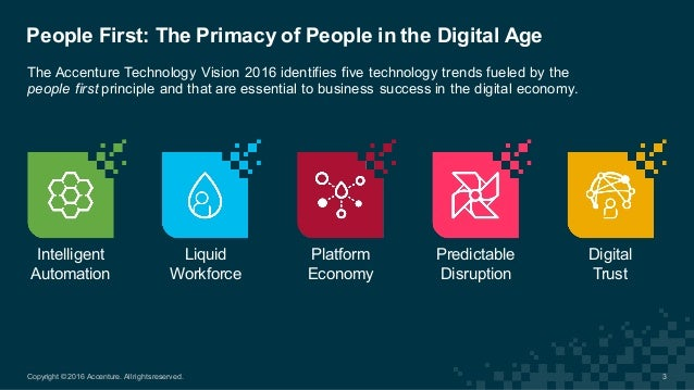 The Accenture Technology Vision 2016 identifies five technology trends fueled by the  people first principle ...