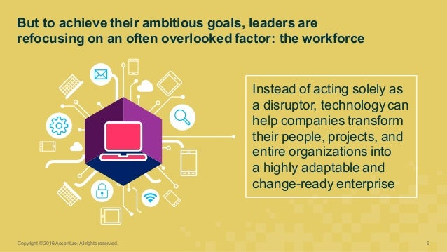 Instead of acting solely as  a disruptor, technology can  help companies transform  their people, projects, ...