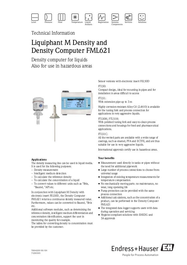 TI00420F/00/EN71200305Technical InformationLiquiphant M Density andDensity Computer FML621Density computer for liquidsAlso...