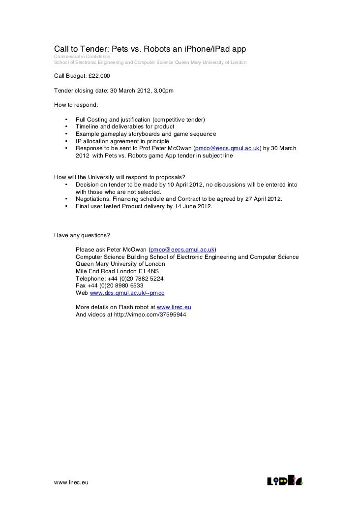 Call to Tender: Pets vs. Robots an iPhone/iPad appCommercial in ConfidenceSchool of Electronic Engineering and Computer Sc...