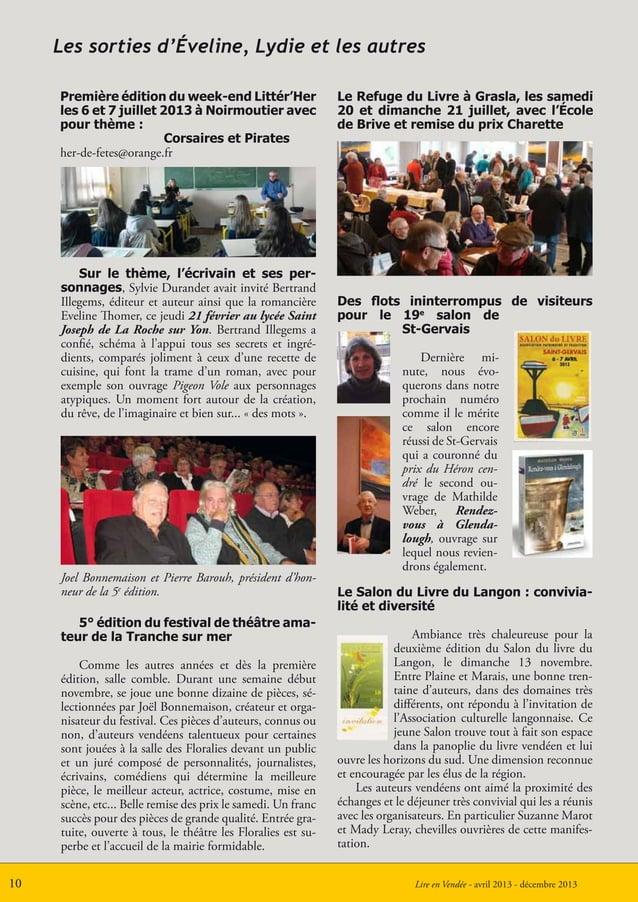 Lire en Vendée - avril 2013 - décembre 20131010Les sorties d'Éveline, Lydie et les autresSur le thème, l'écrivain et ses p...