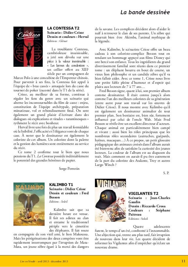 11Lire en Vendée - avril 2013 - décembre 2013LA CONTESSA T2Scénario : Didier CrisseDessin et couleurs : HervalEditions : G...