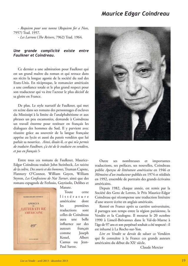 19Lire en Vendée - avril 2013 - décembre 2013Outre ses nombreuses et importantestraductions, ses préfaces, ses nouvelles, ...