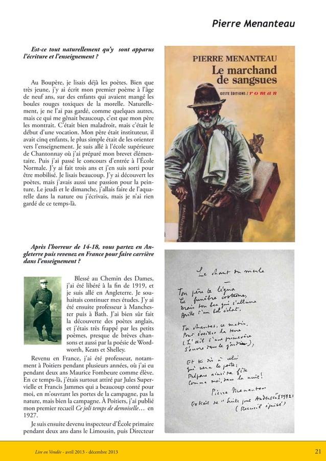 21Lire en Vendée - avril 2013 - décembre 2013Pierre MenanteauEst-ce tout naturellement qu'y sont apparusl'écriture et l'en...