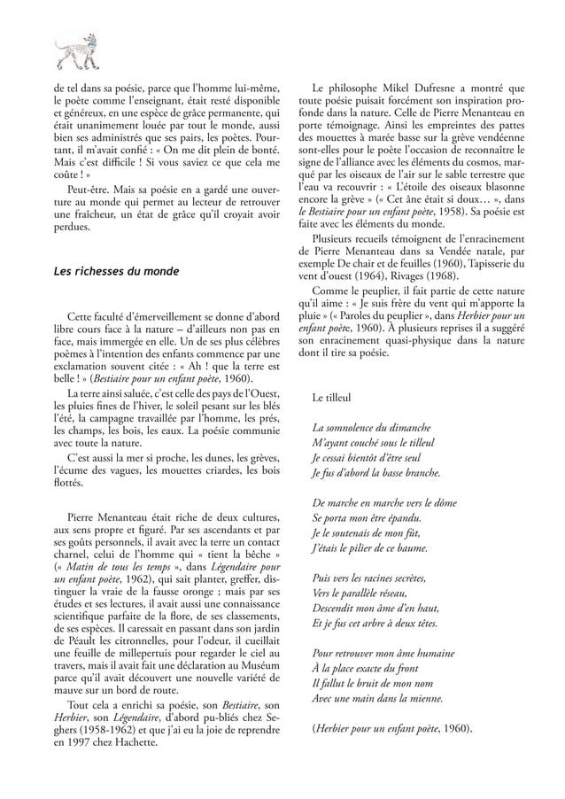 de tel dans sa poésie, parce que l'homme lui-même,le poète comme l'enseignant, était resté disponibleet généreux, en une e...