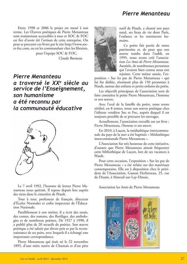 27Lire en Vendée - avril 2013 - décembre 2013Le 7 avril 1992, l'homme de lettres Pierre Me-nanteau nous quittait. Il repos...