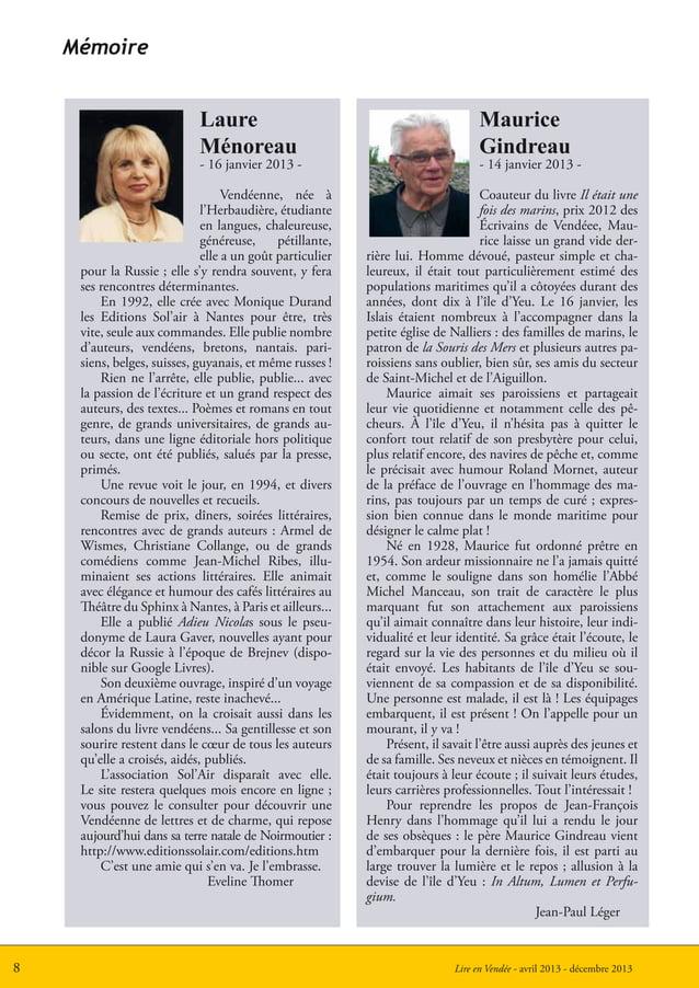 Lire en Vendée - avril 2013 - décembre 20138MémoireLaureMénoreau- 16 janvier 2013 -Vendéenne, née àl'Herbaudière, étudiant...