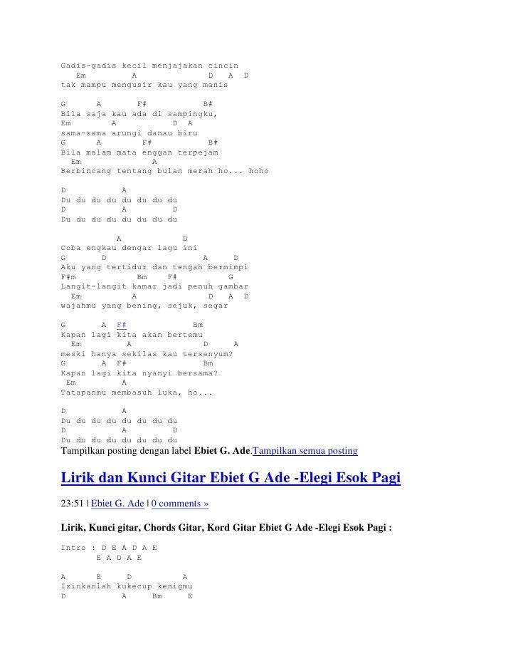 Lirik dan kunci gitar ebiet g ade