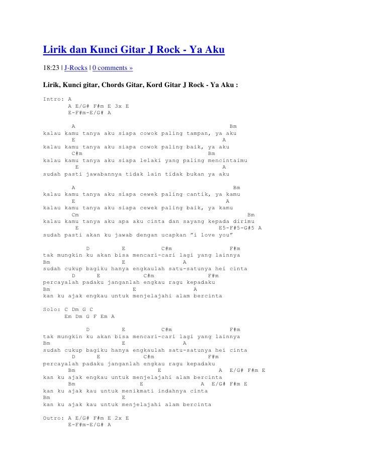 Lirik dan kunci gitar j rock